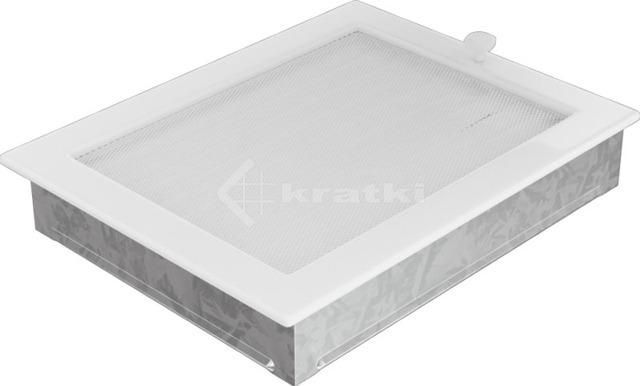 Решетка для камина Kratki 22х30 белая, с жалюзи. Фото 2