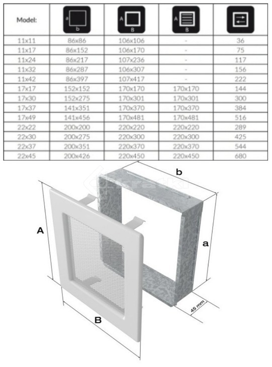 Решетка для камина Kratki 11х17 графитовая. Фото 3