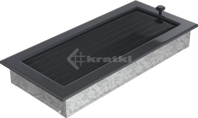 Решетка для камина Kratki 17х37 графитовая, с жалюзи. Фото 3