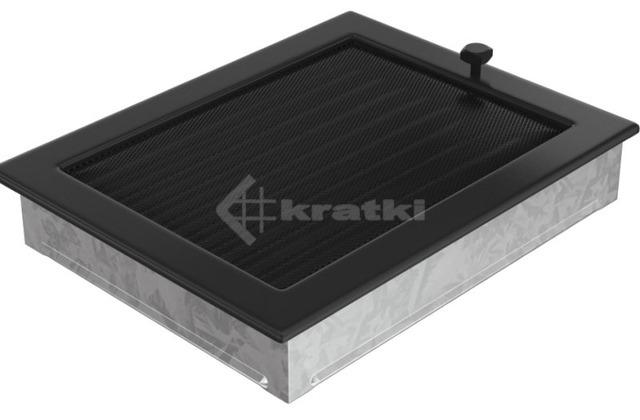 Решетка для камина Kratki 22х30 черная, с жалюзи. Фото 3