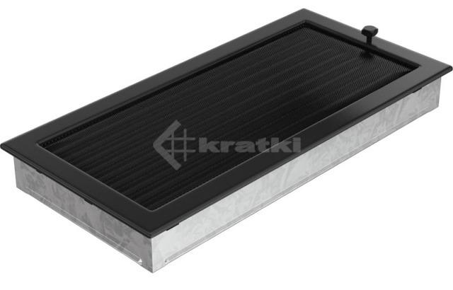 Решетка для камина Kratki 22х45 черная, с жалюзи. Фото 3