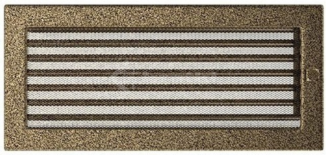 Решетка для камина Kratki 17х37 черно-золотая, с жалюзи