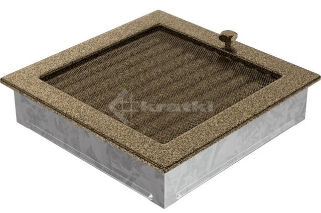Решетка для камина Kratki 22х22 черно-золотая, с жалюзи. Фото 3