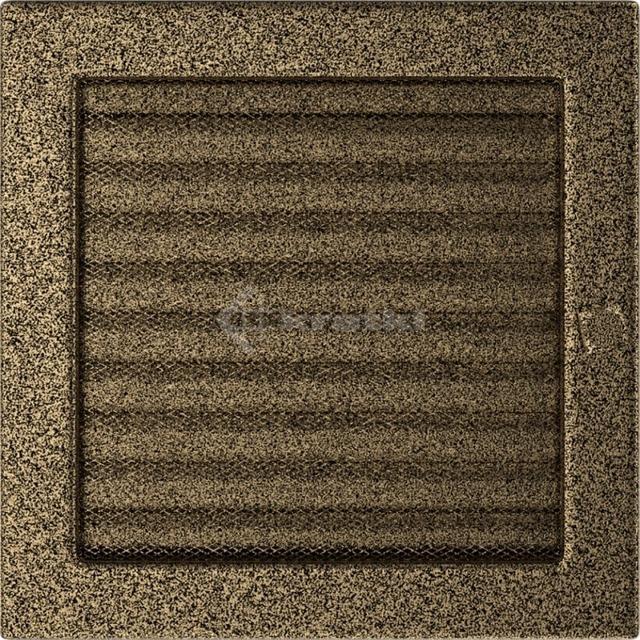 Решетка для камина Kratki 22х22 черно-золотая, с жалюзи. Фото 2