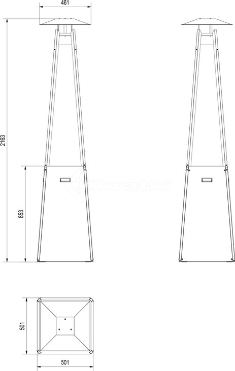 Газовий обігрівач Kratki Umbrella чорний. Фото 6