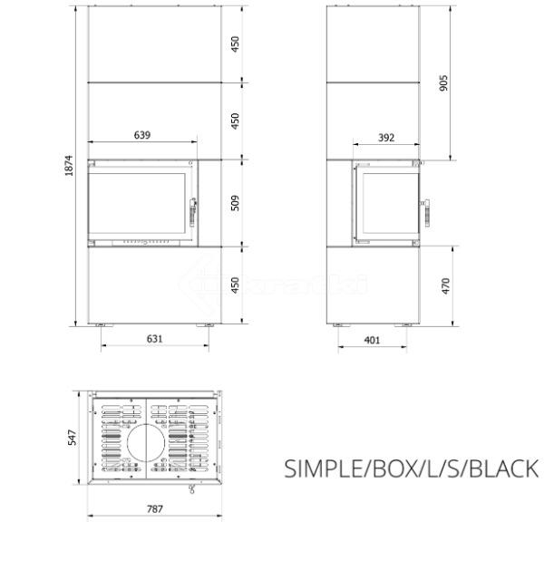 Модульный камин Kratki Simple Box L/S/Black 8 кВт. Фото 7