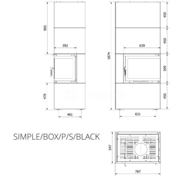 Модульный камин Kratki Simple Box P/S/Black 8 кВт. Фото 7