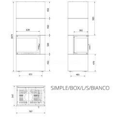 Модульний камін Kratki Simple Box L/S/Bianco 8 кВт. Фото 7