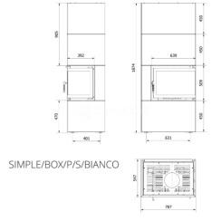 Модульний камін Kratki Simple Box P/S/Bianco 8 кВт. Фото 7