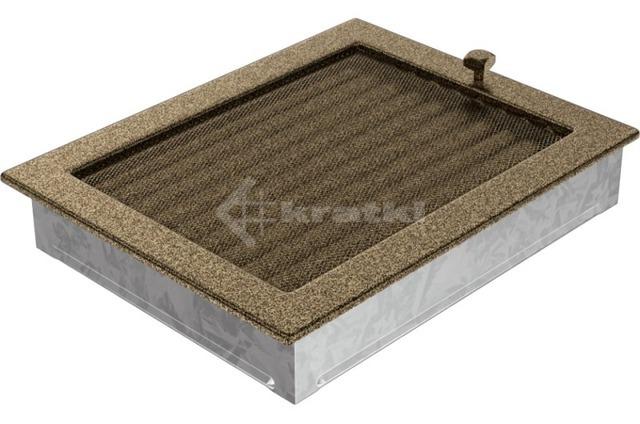 Решетка для камина Kratki 22х30 черно-золотая, с жалюзи. Фото 3
