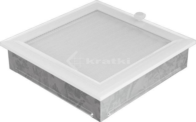 Решетка для камина Kratki Oskar 22х22 белая, с жалюзи. Фото 2
