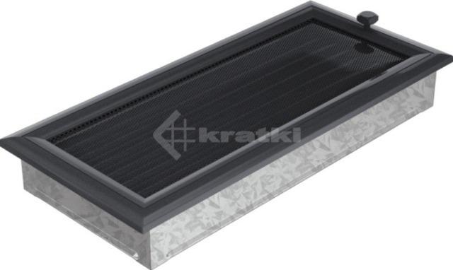 Решетка для камина Kratki Oskar 17х37 графитовая, с жалюзи. Фото 2