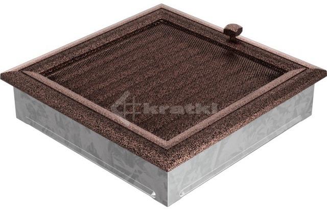 Решетка для камина Kratki Oskar 22х22 медная крашеная, с жалюзи. Фото 2
