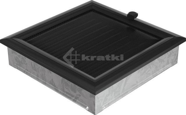 Решетка для камина Kratki Oskar 22х22 черная, с жалюзи. Фото 2