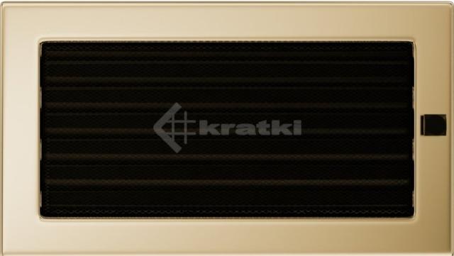 Решетка для камина Kratki 17х30 позолоченная, с жалюзи. Фото 2