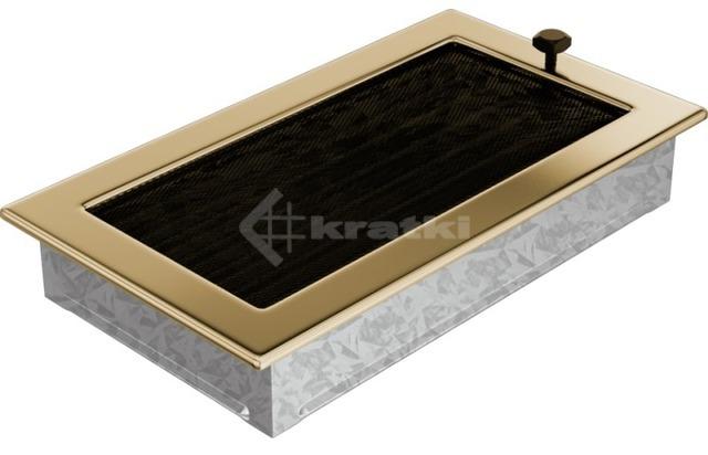 Решетка для камина Kratki 17х30 позолоченная, с жалюзи. Фото 3