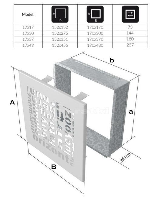 Решетка для камина Kratki ABC 17х30 кремовая. Фото 2
