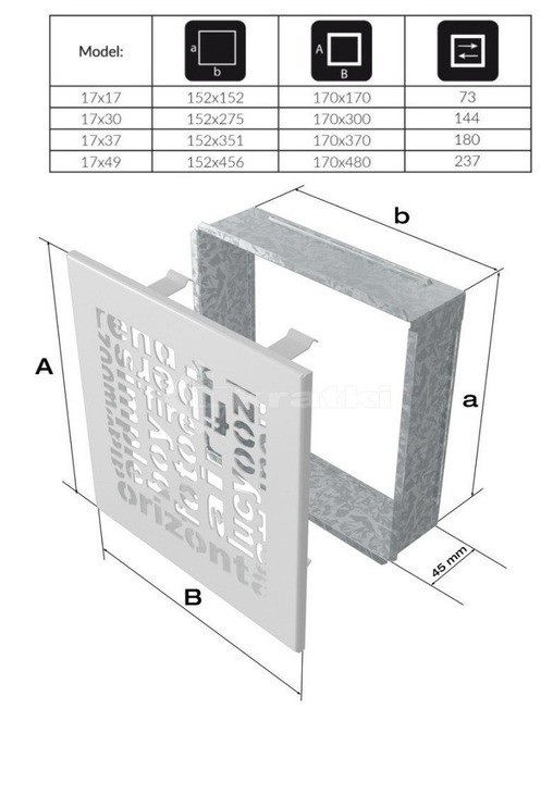 Решетка для камина Kratki ABC 17х17 графитовая. Фото 3