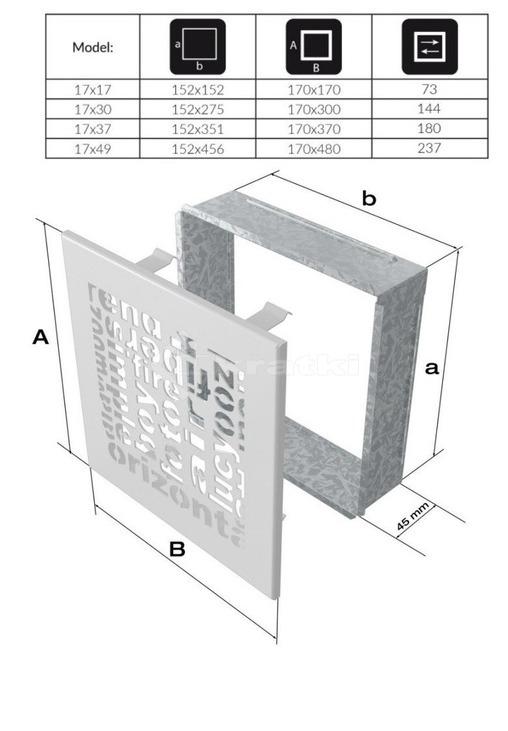 Решетка для камина Kratki ABC 17х49 шлифованная. Фото 3