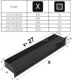 Решетка для камина Kratki Luft 45S 6x20 черная. Фото 4