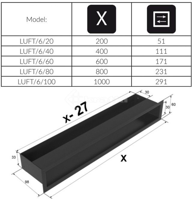Решетка для камина Kratki Luft 45S 6x60 черная. Фото 4