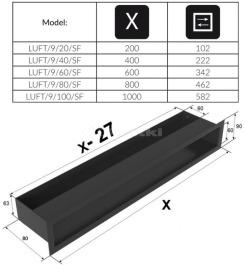 Решетка для камина Kratki Luft 45S 9x20 черная. Фото 4