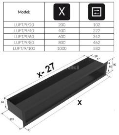 Решетка для камина Kratki Luft 45S 9x60 черная. Фото 4
