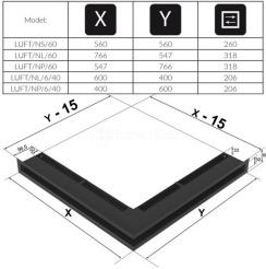 Решетка для камина Kratki Luft 45S NP 40x60x6 белая (LUFT/NP/6/40/45S/B). Фото 4