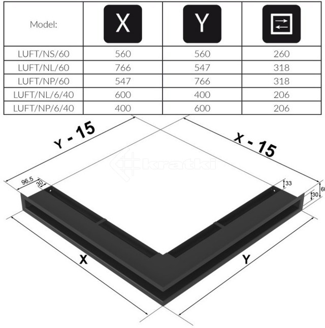 Решетка для камина Kratki Luft 45S NL 60x40x6 графитовая (LUFT/NL/6/40/45S/G). Фото 4