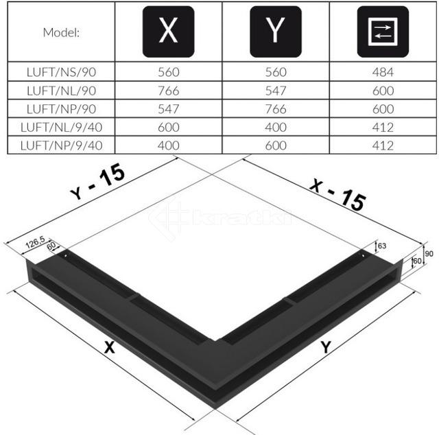 Решетка для камина Kratki Luft 45S NS 56x56x9 белая (LUFT/NS/90/45S/B). Фото 4
