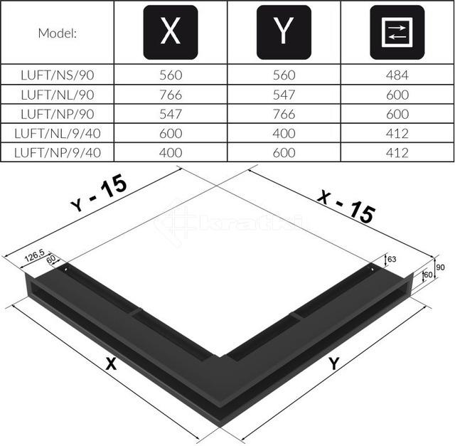 Решетка для камина Kratki Luft 45S NL 60x40x9 черная (LUFT/NL/9/40/45S/C). Фото 4