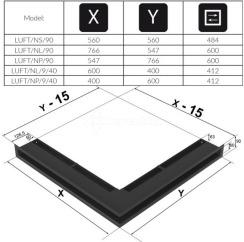 Решетка для камина Kratki Luft 45S NP 54,7x76,6x9 черная (LUFT/NP/90/45S/C). Фото 4