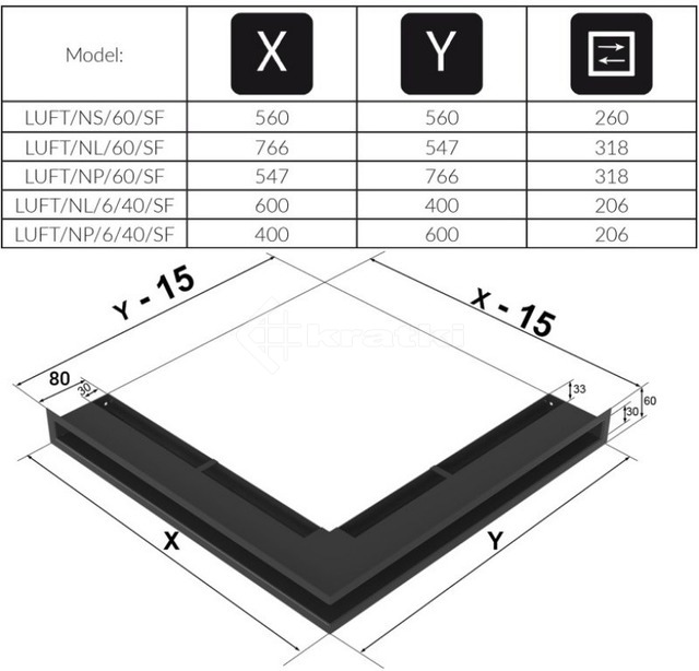 Решетка для камина Kratki Luft 45SF NP 54,7x76,6x6 графитовая (LUFT/NP/60/45S/G/SF). Фото 4