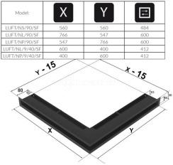 Решетка для камина Kratki Luft 45SF NP 54,7x76,6x9 графитовая (LUFT/NP/90/45S/G/SF). Фото 4