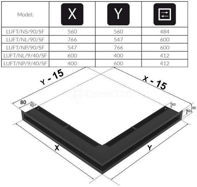 Решетка для камина Kratki Luft 45SF NL 60x40x9 черная (LUFT/NL/9/40/45S/C/SF). Фото 4