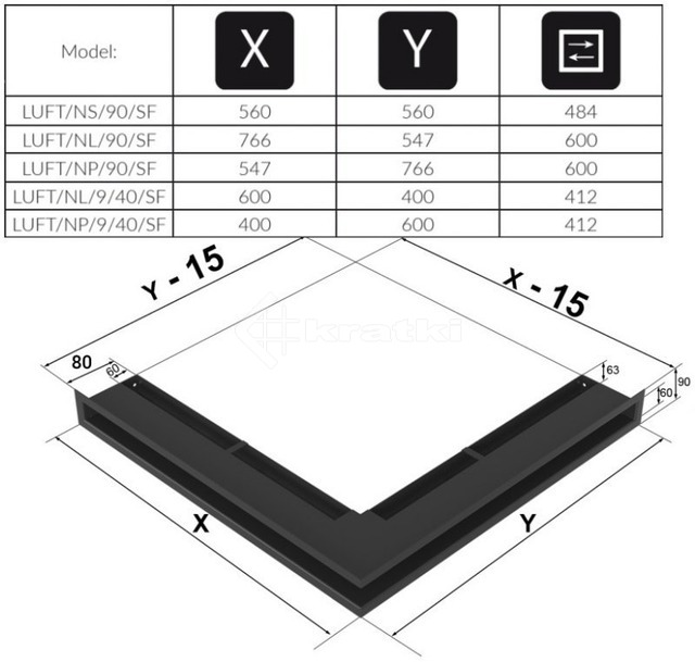 Решетка для камина Kratki Luft 45SF NS 56x56x9 черная (LUFT/NS/90/45S/C/SF). Фото 4