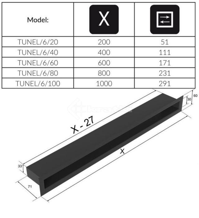 Решетка для камина Kratki Tunel 6x20 черная. Фото 4