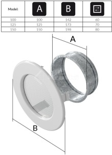 Решетка для камина Kratki круглая FI 150 кремовая. Фото 3