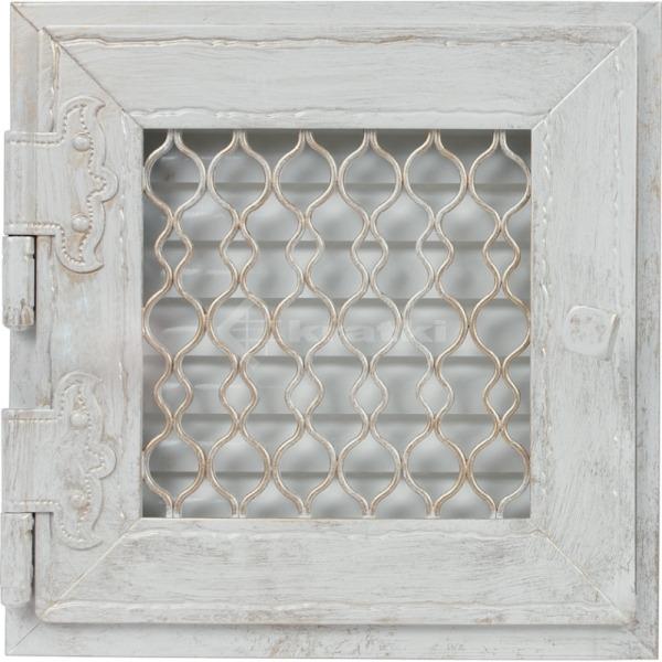 Решітка для каміну Kratki Retro одинарна 17х17 біла, відкривна