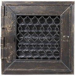 Решетка для камина Kratki Retro одинарная 17х17 графитовая, открывающаяся