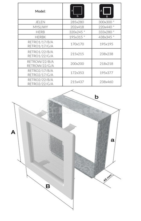 Решітка для каміну Kratki Retro одинарна 22х22 графітова, відкривна. Фото 2