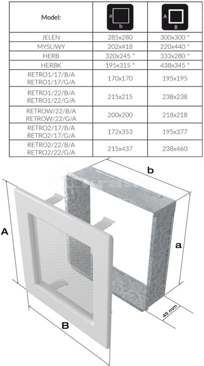 Решетка для камина Kratki Retro двойная 22 графитовая, открывающаяся. Фото 2