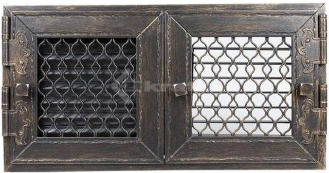 Решетка для камина Kratki Retro двойная 22 графитовая, открывающаяся