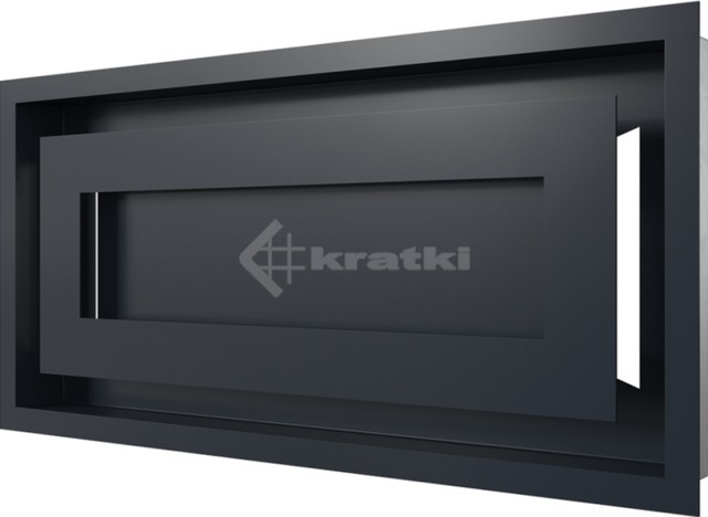 Решетка для камина Kratki Wind 22х45 графитовая. Фото 3